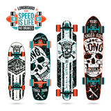 Set of skull prints on longboard Stock Image