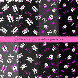 Set of skull seamless patterns. Set of seamless patterns with cartoon skulls in subcultural style on the dark background Stock Photos