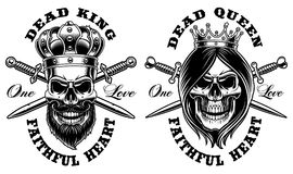 Set of skulls King and Queen. Vector illustration. All elements, text are on the separate group Stock Photo