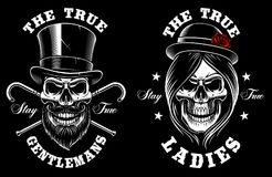 Set of skulls lady and gentleman. Vector tattoo design on dark background. Text is on the separate groups Stock Photography
