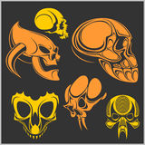 Set of skulls. Vector illustration. Stock Photo