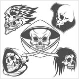 Set of skulls. Vector illustration Stock Photos