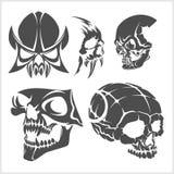 Set of skulls. Vector illustration. Stock Photo