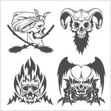 Set of skulls. Vector illustration. Royalty Free Stock Photography