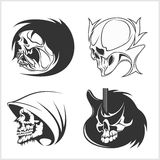 Set of skulls. Vector illustration. Royalty Free Stock Image