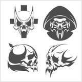 Set of skulls. Vector illustration. Stock Image