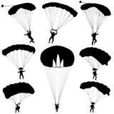 Set skydiver, silhouettes parachuting vector Royalty Free Stock Photo