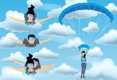 Set of skydivers parachutist characters. Skydiver man and woman flying in the blue cloudy sky. Tandem skydiving. vector illustration