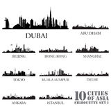 Set of skyline cities silhouettes. 10 cities of Asia #1. Vector illustration Stock Photos