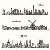 Set skylines Dubai Madrid Amsterdam drawn sketch. Set of skylines Dubai Madrid Amsterdam engraved illustration hand drawn sketch Stock Image