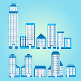 Set of Skyscraper With Blue Background. With light Royalty Free Stock Images