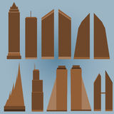 Set of Skyscraper Shapes With Blue Background. With shadow Stock Photo