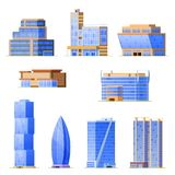 Set of skyscraper urban office buildings, modern high-rise architectural structures. Retail business urban mansions. Town exterior architecture, facade of Stock Photo