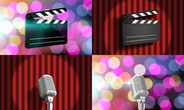 Set Slate on curtain, Microphone on stage Royalty Free Stock Photos