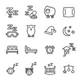 Set of sleep icons in modern thin line style. Royalty Free Stock Photos