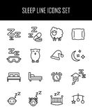 Set of sleep icons in modern thin line style. High quality black outline nap symbols for web site design and mobile apps. Simple sleep pictograms on a white Stock Photography