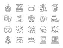 Set of Sleep Line Icons. Aroma Lamp, Bed, Pillow, Headphone, Hot Tea and more. stock illustration