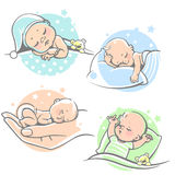 Set with sleeping babies. Royalty Free Stock Photos