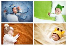 Set of sleeping baby in animal hats. Set of colourful pictures of sleeping baby in animal hats royalty free stock photos