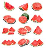 Set of slice fresh watermelon on white. Background royalty free stock image