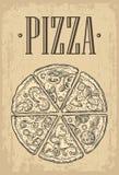 Set slice pizza Pepperoni, Hawaiian, Margherita, Mexican, Seafood, Capricciosa. Royalty Free Stock Photography