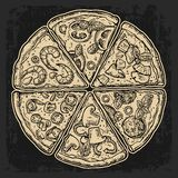 Set slice pizza Pepperoni, Hawaiian, Margherita, Mexican, Seafood, Capricciosa. Vintage vector engraving illustration Royalty Free Stock Image