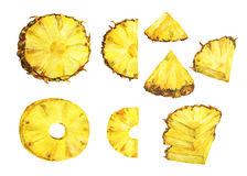 Set of slice ripe pineapple.