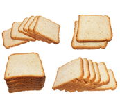 Set sliced bread isolated on white Royalty Free Stock Images