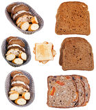 Set of sliced bread isolated on white Stock Photography