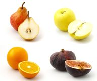 The set of sliced fruit images. The set of isolated sliced fruit images Stock Image