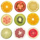 Set of sliced fruit Stock Photo