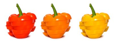 Set of sliced paprika isolated. Red, yellow and orange capsicum. Royalty Free Stock Image
