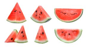 Set of sliced red watermelon isolated on white Stock Photography