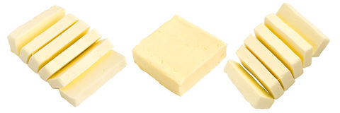 Set of Slices of Butter Isolated Stock Photography