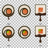 Set of 6 slices sushi rolls logotypes vector illustration