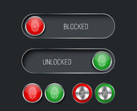 Set of sliders, switches and buttons red and green. Stock Image
