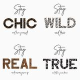 Set of slogan t-shirt with gold chain, camouflage, tiger and leopard animal skin texture. Typography graphic for girls tee shirt. stock photography