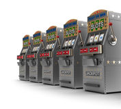 Set of slot machines. Over white Stock Photography