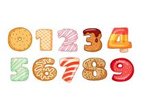 Set smakowici liczba symbole Wy?mienicie, s?odkie, oszklone, czekoladowe, yummy, smakowite, kszta?tne chrzcielnic liczby, Kolorow ilustracja wektor