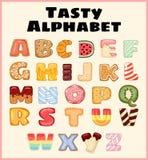 Set smakowity abecadło Wyśmienicie, słodki, jak donuts, glazurujący, czekolada, yummy, smakowici, kształtni abecadło chrzcielnicy royalty ilustracja