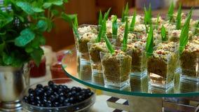 Set smakowity canape dla wydarzenia przyjęcia Obrazy Royalty Free