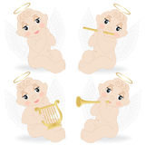 Set of small angels Royalty Free Stock Images