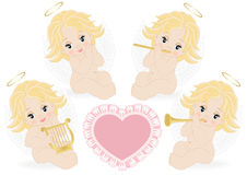 Set of small angels Stock Images