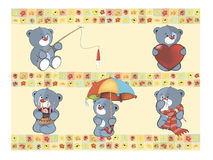 Set of small bears on wallpaper Royalty Free Stock Photo