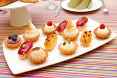 Set of small cakes on plate Stock Image