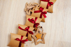 Set of small Christmas gift with Red Ribbon.  Stock Photography