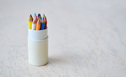 A set of small colored pencils Stock Photo