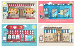 Set of small cute coffee houses and cafe buildings exteriors. Layout modern vector background illustration design. Concept Stock Photos