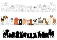 Set of small dogs hand drawn borders. Line art and with colors and silhouette royalty free illustration