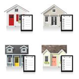 Set of small houses and clipboards isolated on white background. Vector , illustration Stock Photo
